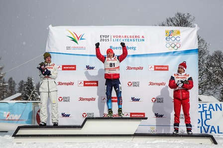Russia's Sergei Demichev celebrates his gold medal in the boys' biathlon 7.5 kilometres sprint ©EYOF 2015
