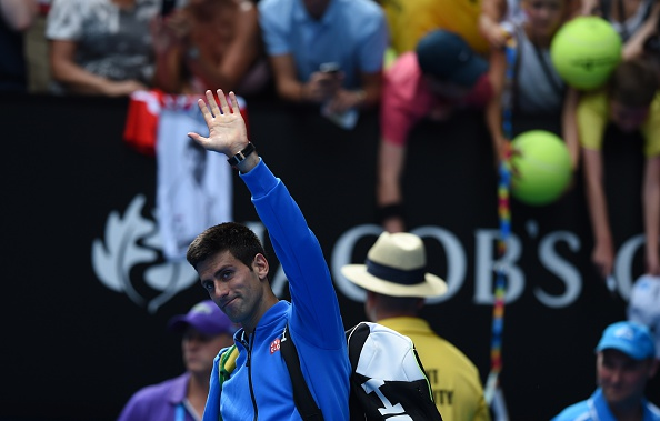 Serbia's Novak Djokovic salutes the crowd after overcoming Slovenia's Aljaz Bedene in the first round of the Australian Open ©Getty Images