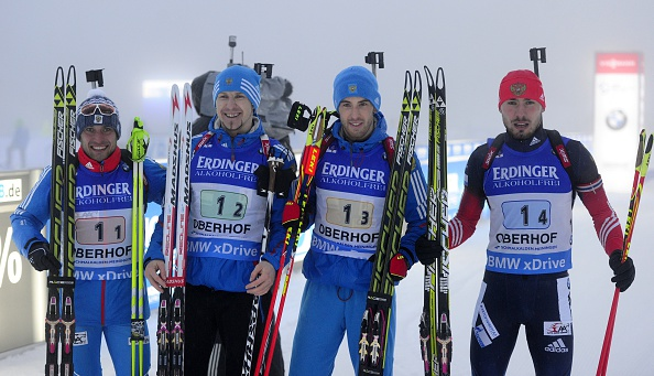 The Russian quartet were the winners of the first mens race at the IBU World Cup in Oberhof
