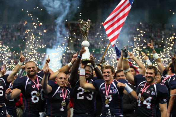 The United States American Football team celebrates winning the 2011 final in Vienna ©Getty Images