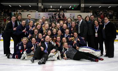 The United States have won the IIHF World Women's U18 Championships ©Francois Laplante/HHOF/IIHF Images