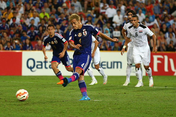 The influential Keisuke Honda gives Japan the lead from the penalty spot ©Getty Images
