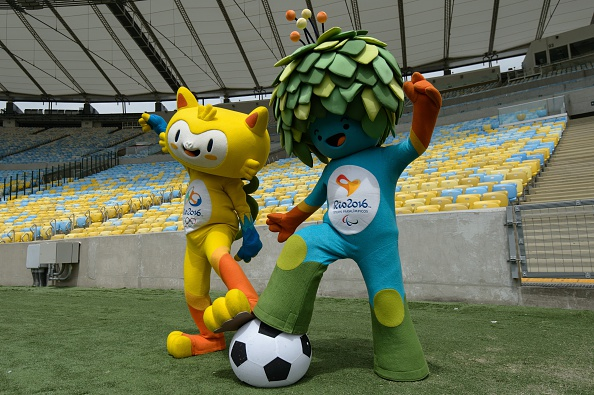 Brazil 2016 mascots Tom and Vinicus were pictured at the Maracana in December which is set to host the men's and women's football final ©Getty Images