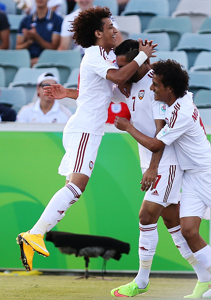 UAE players celebrate Mabkhout's record breaking goal ©Getty Images