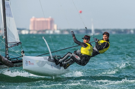 Vittorio Bissaro and Silvia Sicouri are well positioned to defend their Nacra 17 title at the ISAF Sailing World Cup ©ISAF