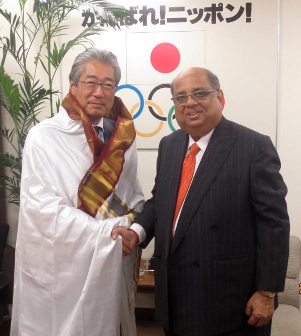 WSF President N. Ramachandran met with Yoshiro Mori as well as Tsunekazu Takeda
