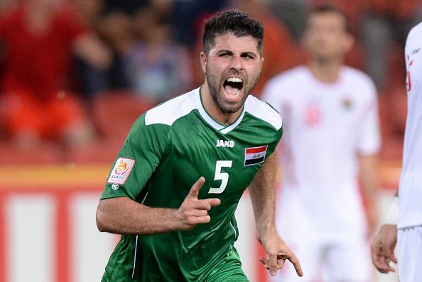 Yaser Kasim celebrates his winning goal for Iraq against Jordan ©Getty Images