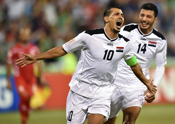 Younus Mahmood nodded home his first goal of the tournament to set Iraq on their way to a quarter-final berth ©Getty Images