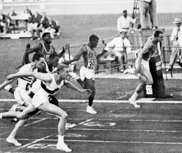 Armin Hary of Germany (left) wins the 1960 Olympic 100m title. Earlier in the year at Zurich he set a world record of 10.00sec in a re-run instigated by journalist Gustav Schwenk, who has died aged 91 ©AFP/Getty Images