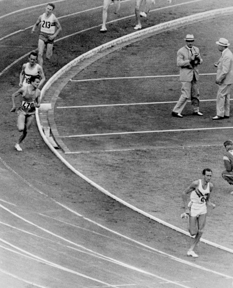 Australia's Herb Elliott cruises to the 1960 Olympic 1500m title. He retired unbeaten over the mile and metric mile. but not unbeaten - he was eighth and last in an 800m between Cambridge University and the AAA ©AFP/Getty Images