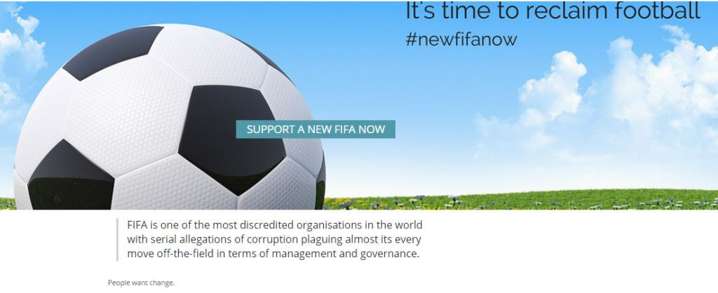 New FIFA Now is seeking to engineer sweeping changes within the governing body ©New FIFA Now