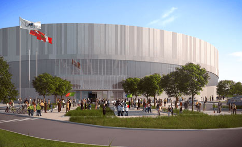 The Toronto 2015 cycling velodrome, shown in this artistic impression, will host competitive action for the first time this week ©Toronto 2015