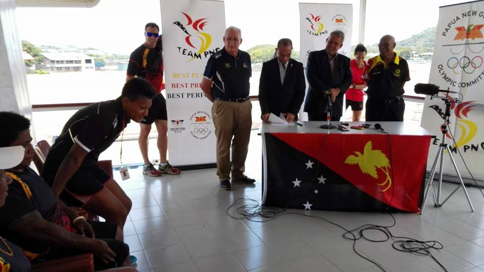 Justin Tkatchenko (centre) has announced that Papua New Guinea athletes competing at their home Pacific Games in Port Moresby this year will receive a PGK20000 prize for each gold medal they win ©PNG2015 Pacific Games/Facebook