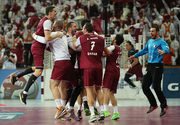 Qatar celebrate a historic first appearance in the World Handball Championships after a quarter-final win over Germany ©Getty Images