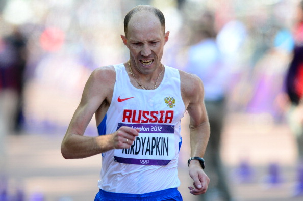 Sergei Kirdyapkin, pictured en route to the London 2012 50km race walk gold, is one of five Russian walkers suspended for doping ©Getty Images