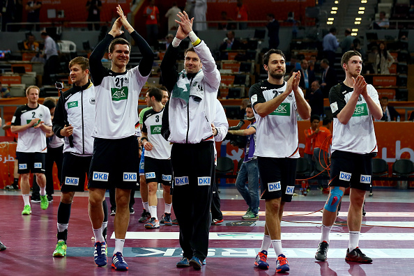 Germany celebrate victory over Slovenia in the seventh-place play-off match at the World Handball Championships - and an automatic place in next year's Olympic Qualification tournament ©Getty Images