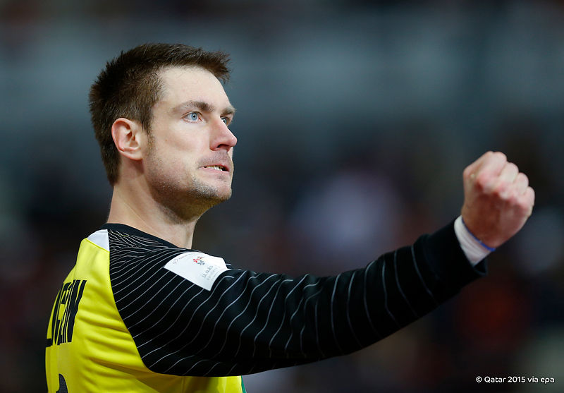 Germany's keeper Carsten Lichtlein played a starring role as his wild card team beat Egypt 23-16 to earn a quarter-final against hosts Qatar ©Qatar2015