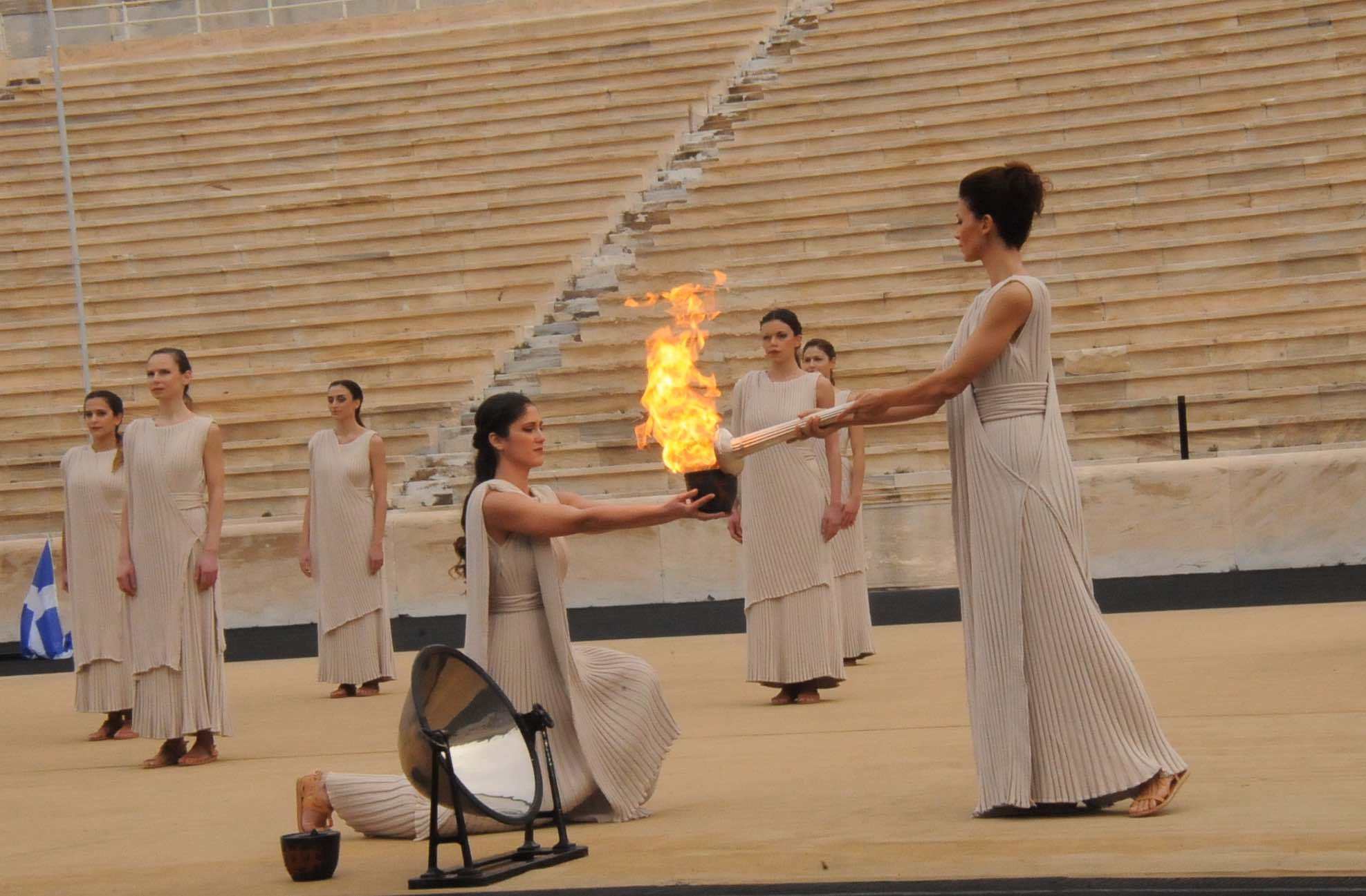 The official Flame lighting ceremony at the Panathenaic Stadium marked the first time in history that the Flame was handed to two host countries ©EYOF2015