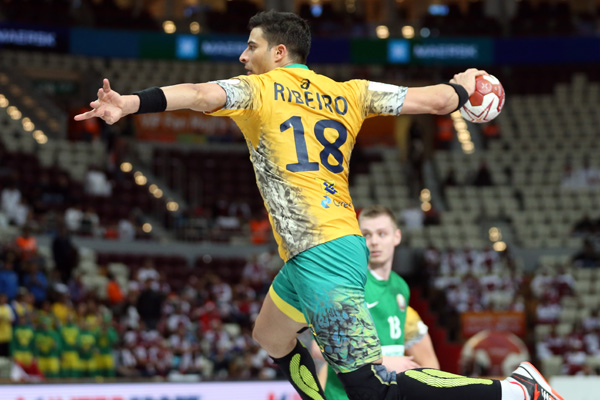 Brazil's wing Felipe Ribeiro enjoyed a profitable day in front of goal as his side earned their first win of the World Championships, beating Belarus 34-29 ©Qatar2015