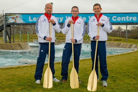 Etienne Stott (centre) with Richard Hounslow (left) and David Florence (right) took part in an open training session at Lee Valley White Water Centre ©British Canoeing