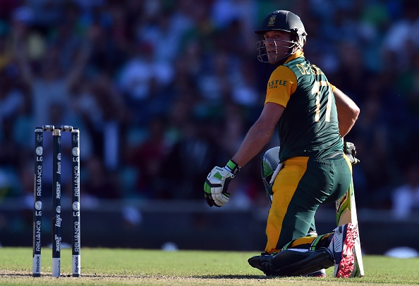 AB De Villiers hit the fastest 150 in cricketing history against the West Indies ©AFP/Getty Images