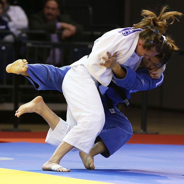 Britain's Anna Schlesinger made a great start competing for her new country following her switch of allegiance by winning the gold medal in the under 63kg category ©IJF