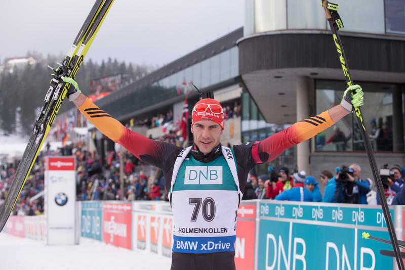 Germany's Arnd Peiffer took the men's 10km honours at the IBU World Cup as he earned a narrow victory over Frenchman Martin Fourcade ©IBU
