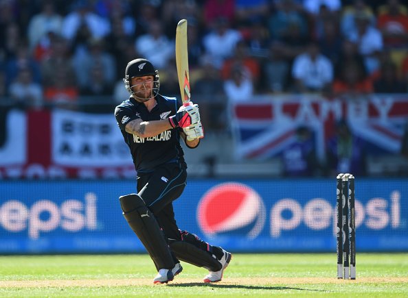 Brendon McCullum scored 77 of just 25 balls leading New Zealand to a crushing victory over England to record their third consecutive win in the World Cup ©Getty Images