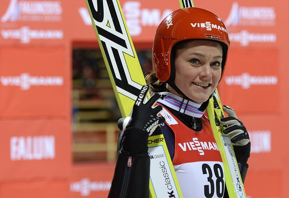 Carina Vogt added to her Olympic crown by securing the world ski jumping title in Falun  ©AFP/Getty Images