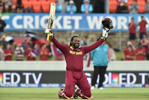Chris Gayle became the first batsman in World Cup history to score a double hundred as West Indies beat Zimbabwe in Canberra ©Getty Images