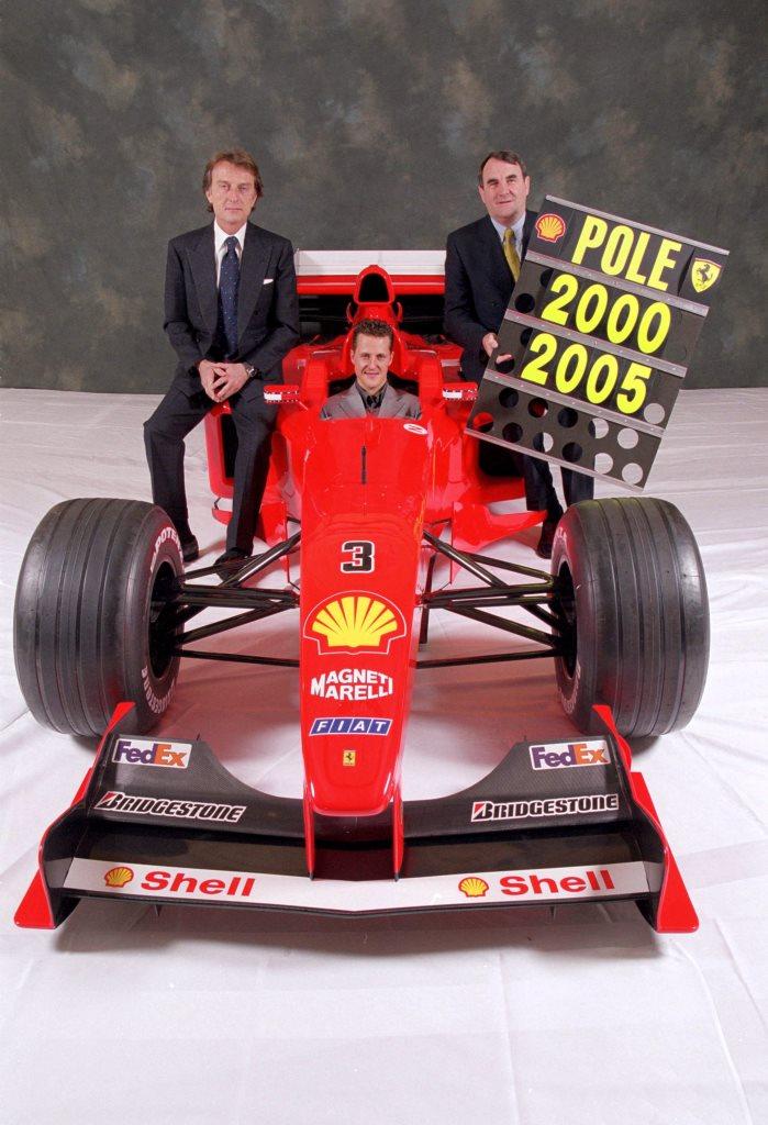Luca Cordero Di Montezemolo (left), pictured alongside Michael Schumacher (centre), presided over a period of great success for Ferrari ©Getty Images