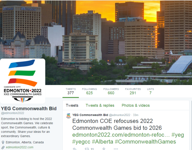 Edmonton announced the withdrawal of its bid to host the 2022 Commonwealth Games on its Twitter page, claiming that it would concentrate instead on 2026 ©Twitter