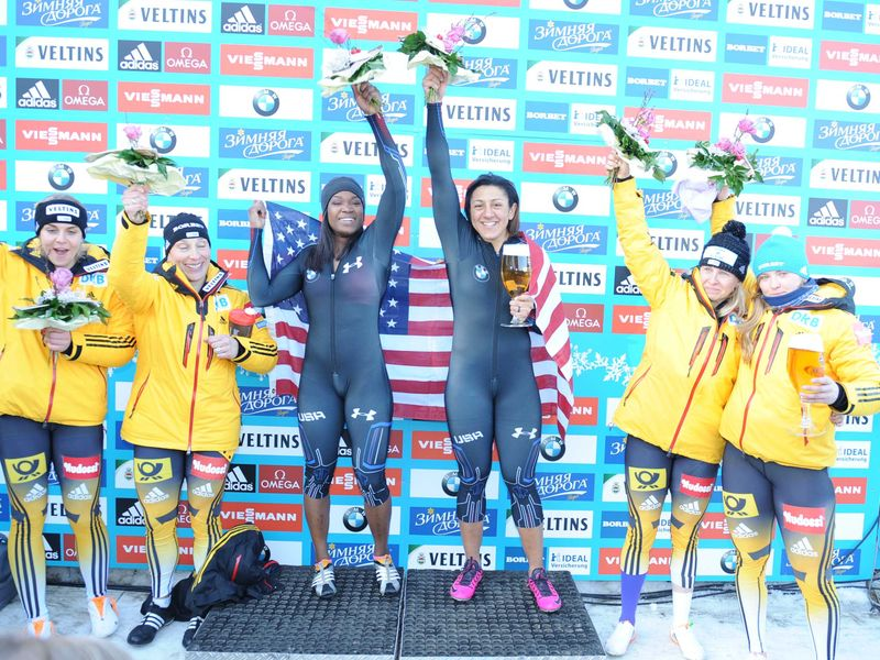 Cherrelle Garrett and Elana Meyers Taylor saw off competition from German pairs to win the two-woman world title ©FIBT
