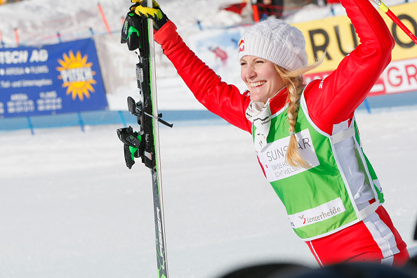 Fanny Smith celebrates after winning the World Cup event on home snow ©Getty Images