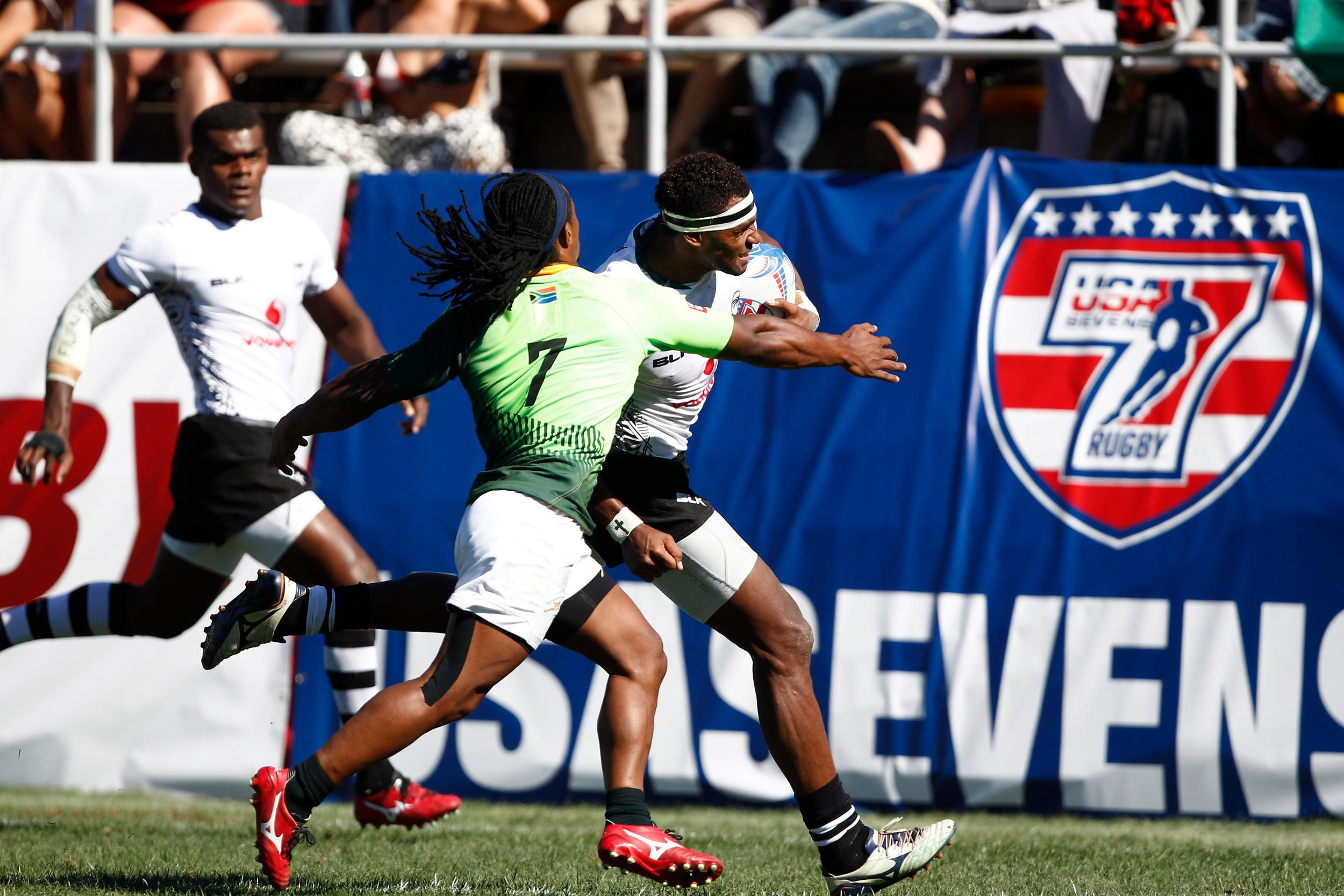 Fiji overcame series leaders South Africa in the semi-finals of the HSBC Sevens World Series in Las Vegas on their way to winning the tournament ©World Rugby