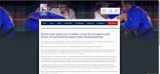 News of the cancellation of the event is broken on Glasgow's official Championships website ©BJA