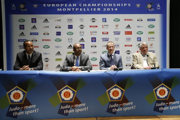 Details of Glasgow's plans for this year's European Judo Championships were presented at the 2014 event by Kerrith Brown (second left), chairman of the British Judo Association, but it has now been cancelled after a sponsorship row ©EJU