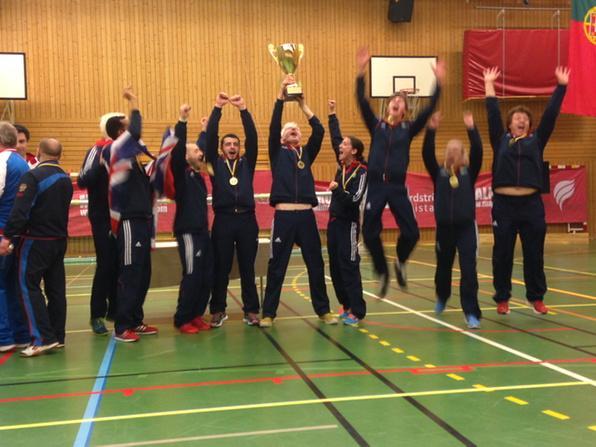 Great Britain celebrate their European goalball C-division title ©IBSA GoalballECC2015