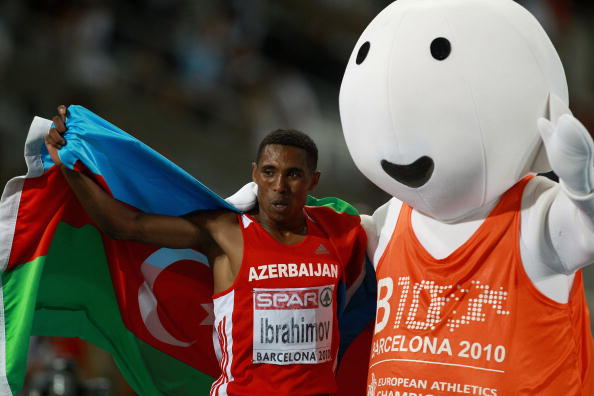 Hayle Ibrahimov, pictured celebrating a European 5,000m bronze in 2010, will be leading the home charge in Baku ©Bongarts/Getty Images