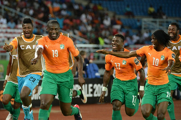 Ivory Coast's players celebrate after Yaya Toure's thunderous opener ©Getty Images
