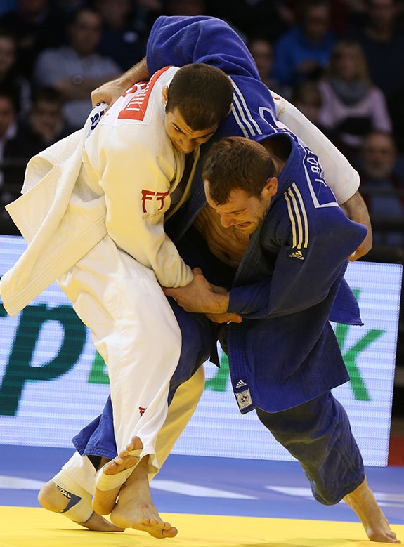 Joachim Bottieau (left) earned a surprise win in the men's under 81kg category thanks to victory over Georgia's Avtandil Tchrikishvili in the final ©IJF