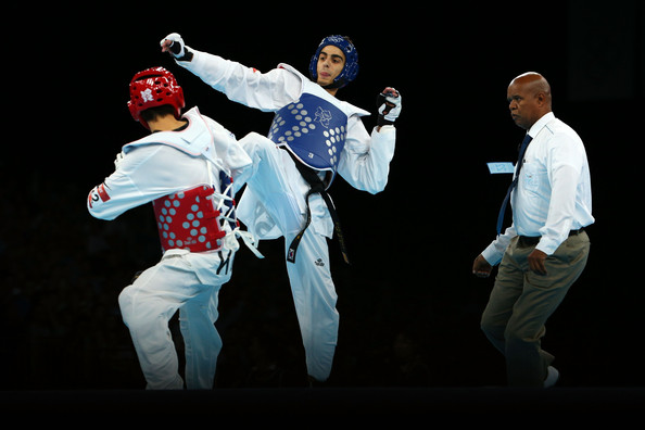Spain's Joel González (in blue) helped Spain finish top of the overall medals table in taekwondo at London 2012 when he won gold in the under 58kg category ©Getty Images
