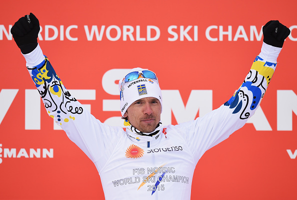 Johan Olsson celebrates his 15km cross-country free technique success in Falun ©Getty Images