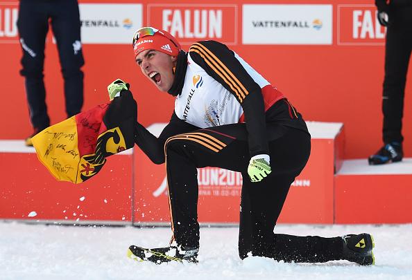 Johannes Rydzek celebrates winning his first world title ©Getty Images