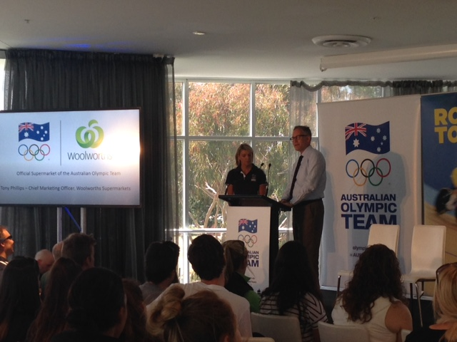 Kitty Chiller and Tony Phillips announce Woolworths as the latest sponsor of the Australian Olympic team ©Olympics.com.au