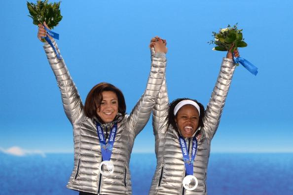 Lauryn Williams won Sochi 2014 bobsleigh silver alongside her pilot Elana Meyers ©AFP/Getty Images