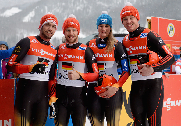 Felix Loch joined his team mates to claim gold in the mixed team relay ©Bongarts/Getty Images