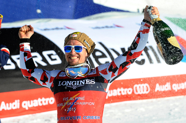 Marcel Hirscher celebrates winning the men's combined world title ©Agence Zoom/Getty Images