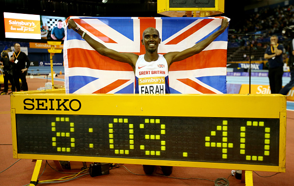 Mo Farah of Great Britain clinched victory in the two-mile race in a world record time in Birmingham ©Getty Images