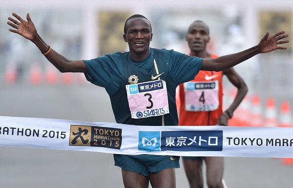 Olympic champion Stephen Kiprotich set a national record in finishing second at the Tokyo Marathon ©AFP/Getty Images